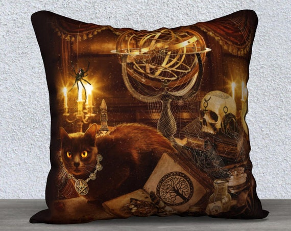 Gothic Wiccan black cat art pillow case