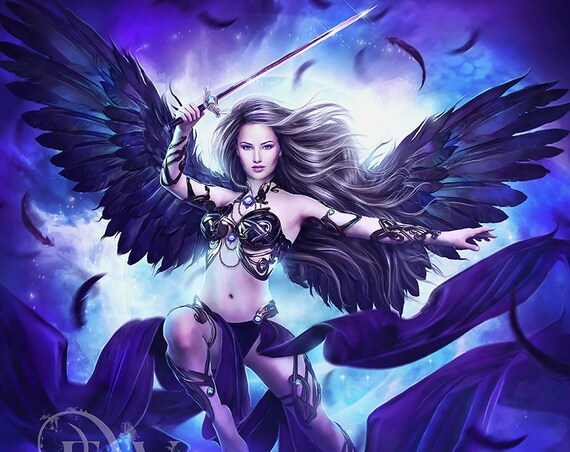 guardian angel fantasy art print, Angel with sword, Warrior Angel, black wings, purple and blue wall decor, female Angel