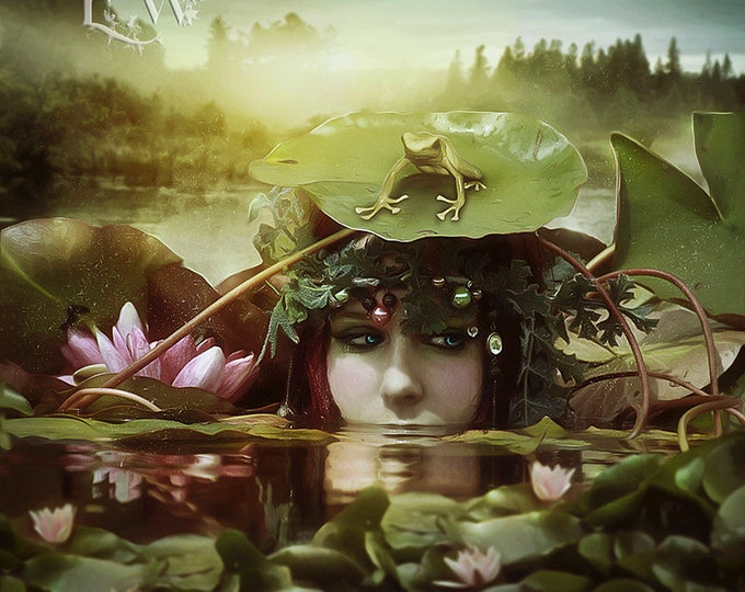 mysterious mermaid portrait with frog art print