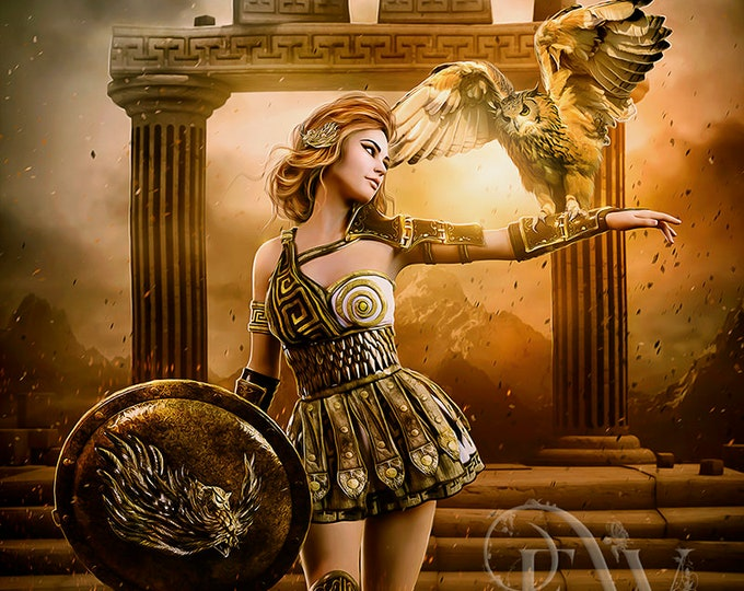 Athena Greek Goddess art print, owl art, digital art, Athena wall decor, digital painting