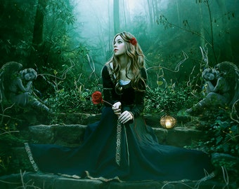 medieval fantasy Princess with rose in forest woman art print in green, photography lady and Angels wall decor