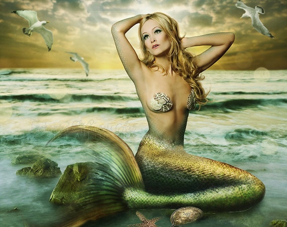 green mermaid art print by Enchanted Whispers