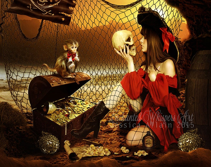 Fantasy female pirate art print by Enchanted Whispers