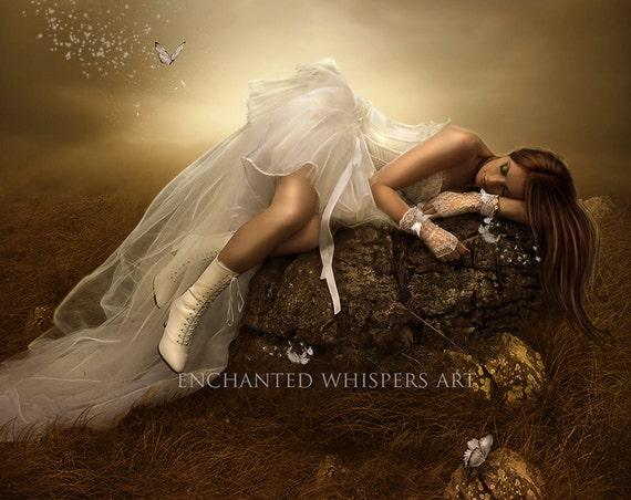 fantasy woman sleeping on rock art print