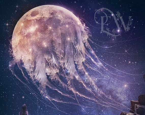 Surreal fantasy jellyfish moon art print, Celestial wall decor