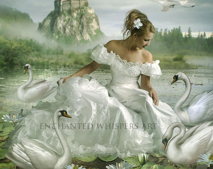 fantasy Princess with swans art print