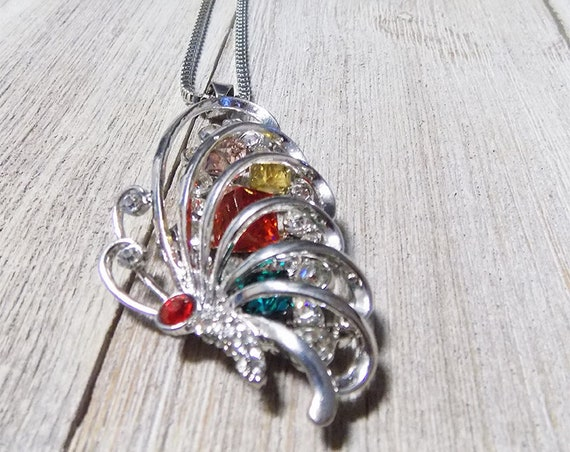 butterfly necklace colorful silver filled box chain long with jewel clusters inside