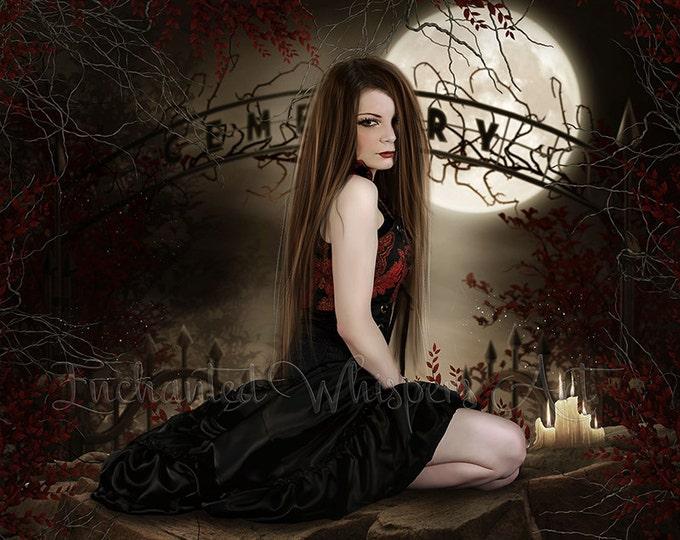 Gothic woman in graveyard art print