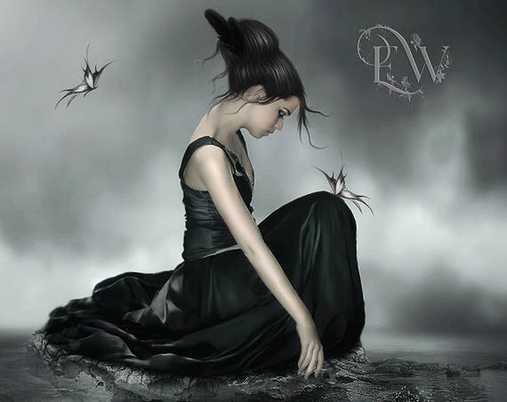 Goth fantasy woman art print by Enchanted Whispers
