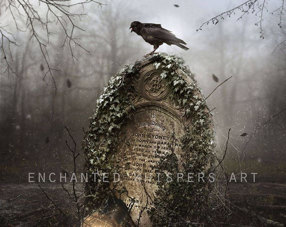 Dark Gothic cemetery grave with crow art print