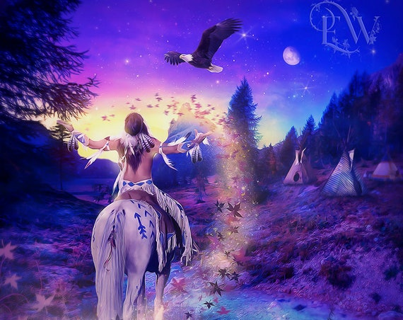 native tribal horse Indian fantasy art print