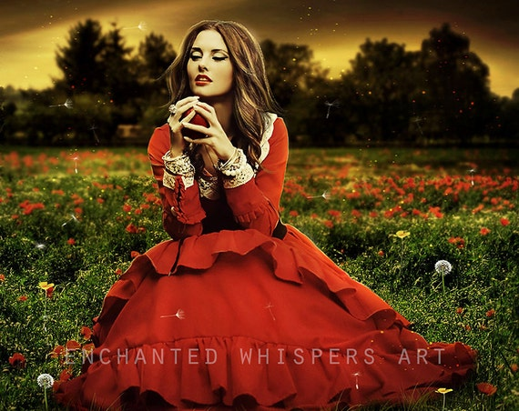 red fantasy woman in poppy field art print