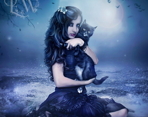 fantasy woman Witch and black cat art print by Enchanted Whispers