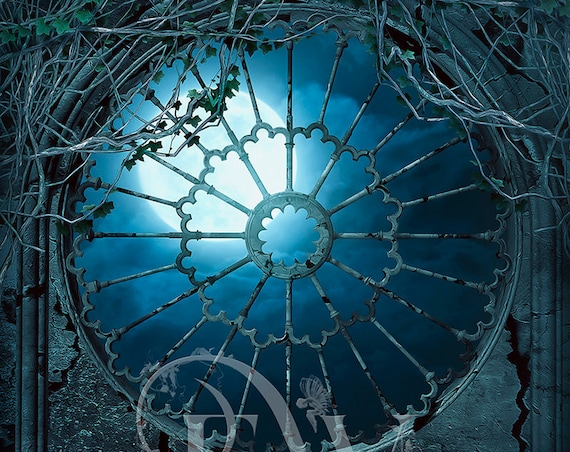 Gothic window digital background for photoshop, Gothic architecture spooky night with full moon