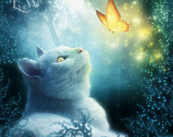 White cat art fantasy art print by Enchanted Whispers