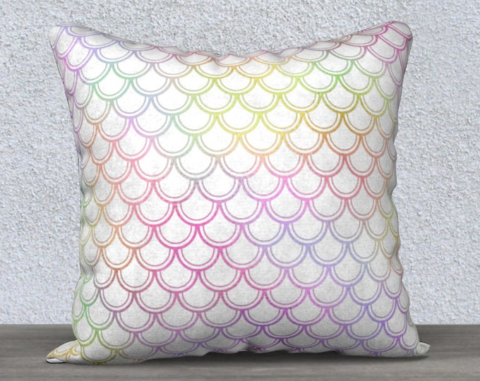 white rainbow mermaid scales pillow cove size 18x18 inches