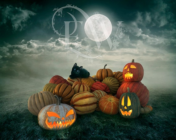Halloween digital Photoshop background, photo compositing backdrop, photo editing, Halloween Pumpkins