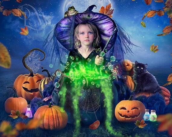 Little girl Witch fantasy Halloween art print