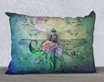 dragonfly pillow, pillow cover, cushion cover, vintage dragonfly, dragonfly decor, dragonfly art, throw pillow, pillow case, art pillow