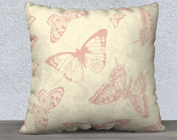 vintage style beige and pink 20x20 inch pillow cover