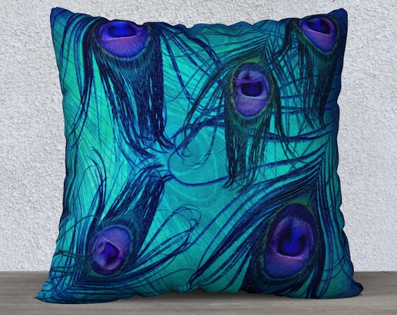 square shaped peacock feather print cushion cover 18x18 or 22x22 inches