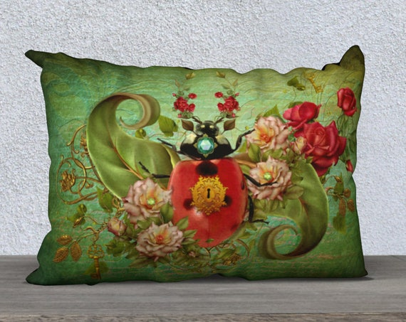 vinatge style whimsical Ladybug art cushion cover