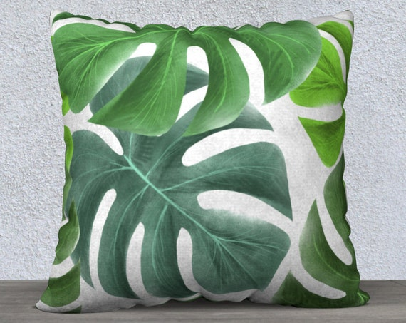 green and white tropical leaves pillow cover size 22x22 inches