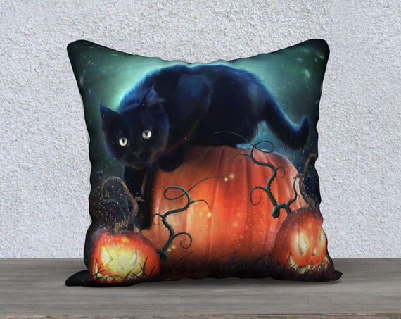 Halloween black cat and pumpkins pillow cover
