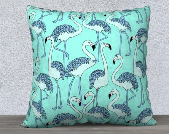 funky teal flamingos cushion cover size 22x22 inches
