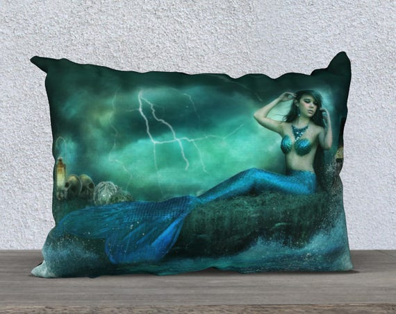 mermaid fantasy art pillow cover size 20x14