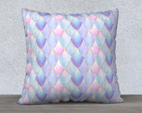 pastel colored dragon scales pillow cover, 22x22 pillow case, velvet pillow, throw pillow, square pillow