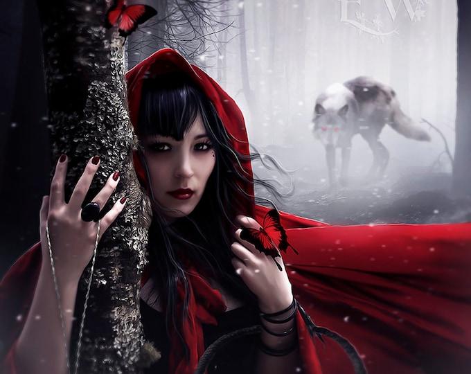 Red Riding Hood wolf art print