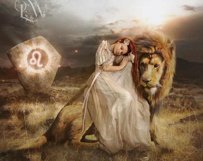 Leo lion and woman fantasy Zodiac art print