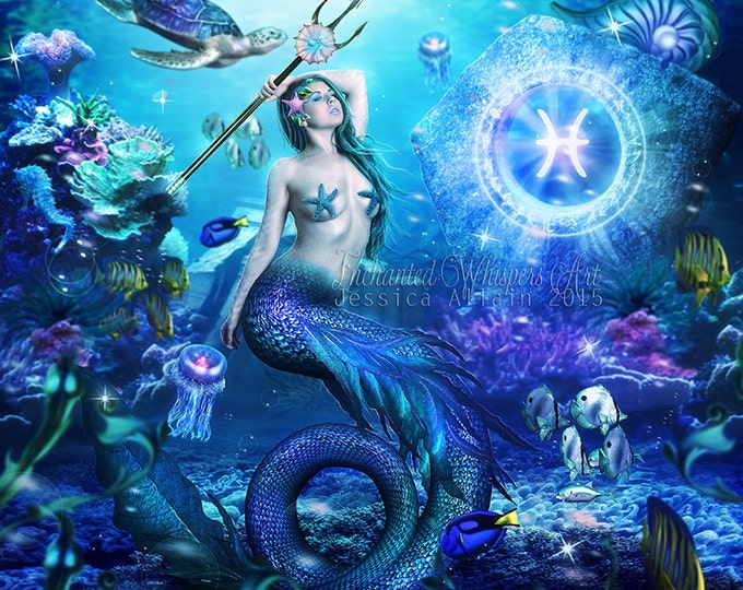 Pisces fantasy mermaid art print
