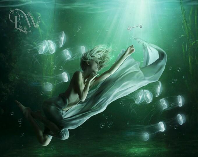 underwater fantasy woman art print