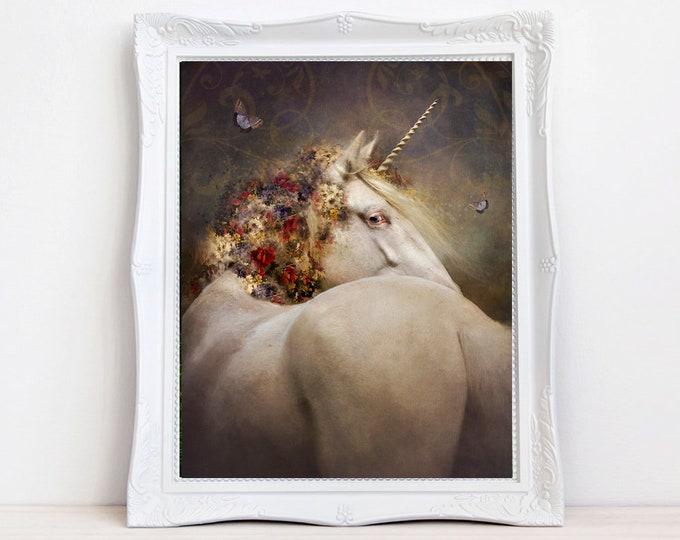 vintage fantasy Unicorn art print