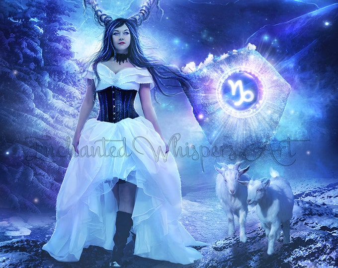 Capricorn fantasy woman Zodiac art print