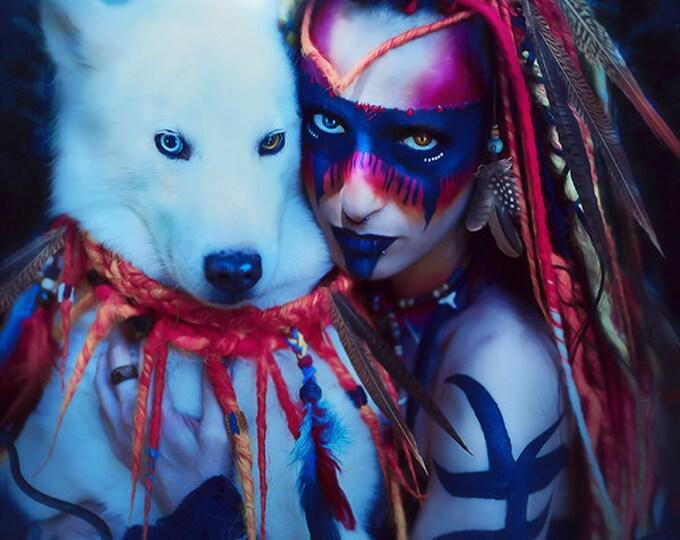 Eskimo husky dog and native woman portrait print