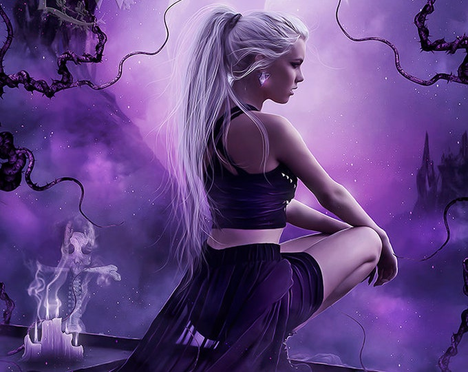 Gothic fantasy woman purple art print