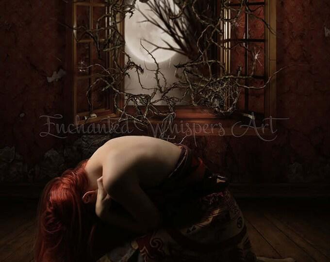 """Gothic woman kneeling at windown """"Nightmare"""" art print"""