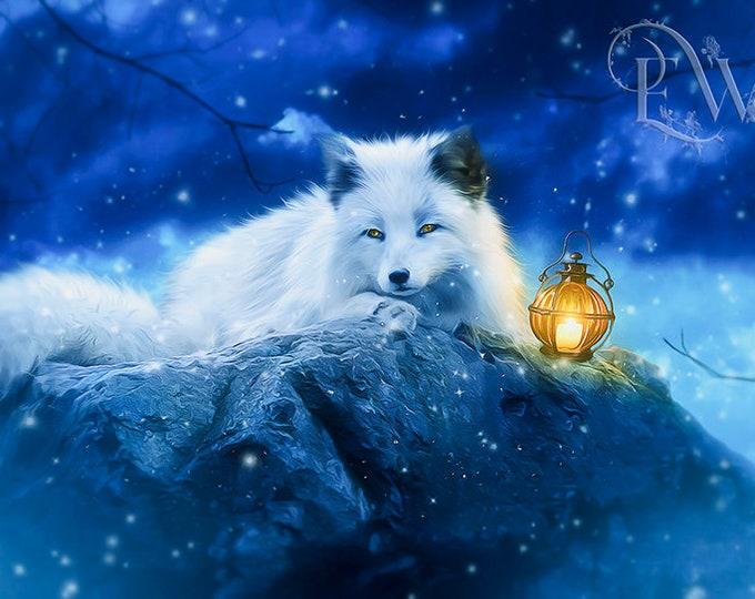 white fantasy winter fox art print