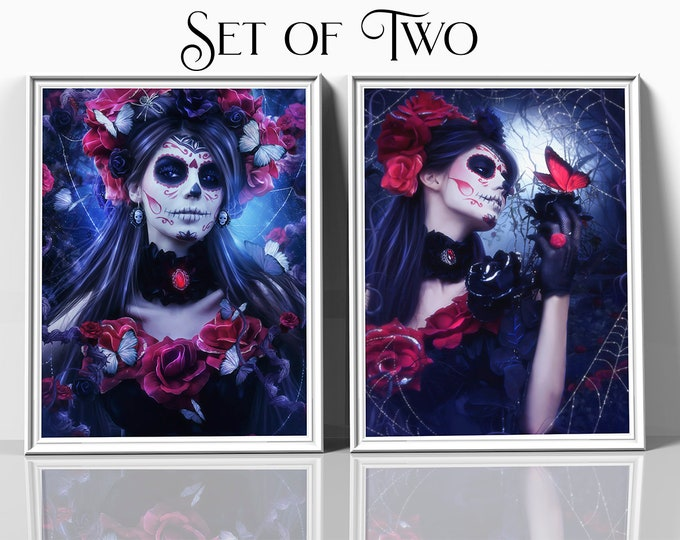 set of two Day of the Dead art prints