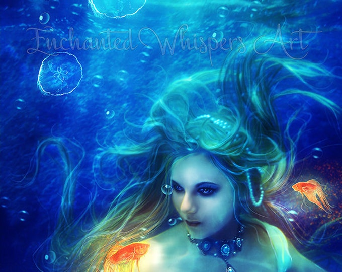 Blue water mermaid portrait print by Enchanted Whispers