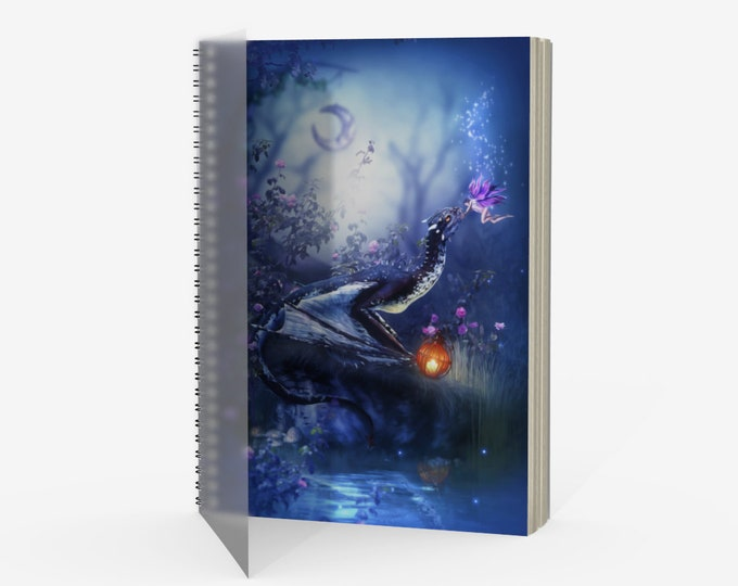 fantasy dragon and fairy spiral binded journal notebook