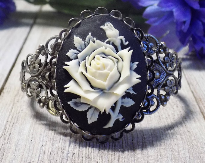 large Victorian style filigree rose cameo cuff bracelet in antique silver tone