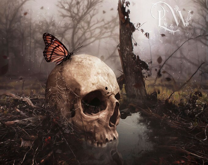 Gothic skull with butterfly art print