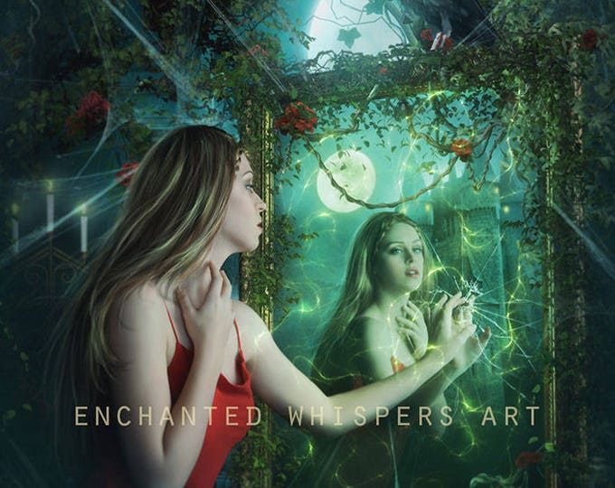 Fantasy woman in mirror art print by Enchanted Whispers