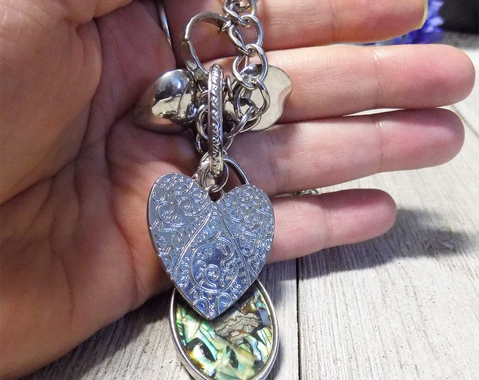 boho style long large silver tone charm necklace with heart and abolone pendant