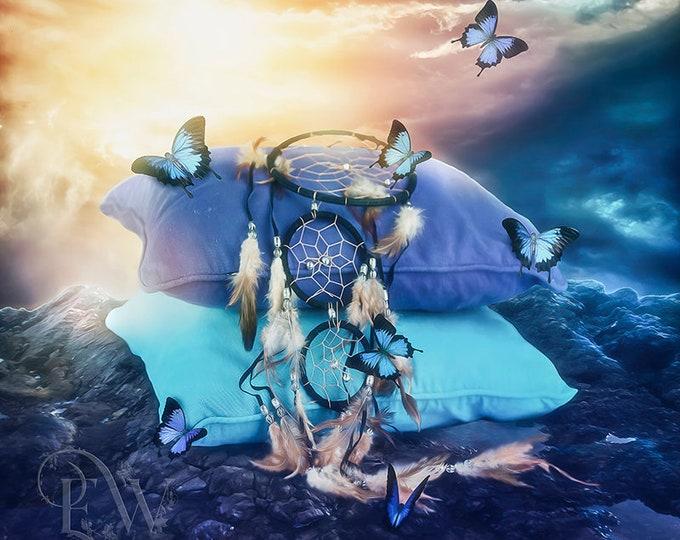 fantasy Dream catcher on pillows art print, Native inspired art, blue morph butterflies