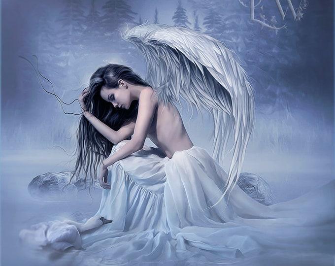 mourning angel with swan art print by Enchanted Whipsers